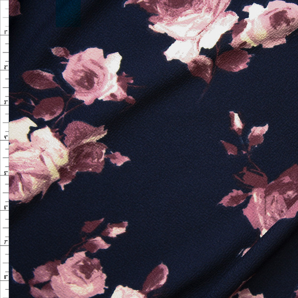 Lilac Roses on Navy Blue Liverpool Knit Fabric By The Yard