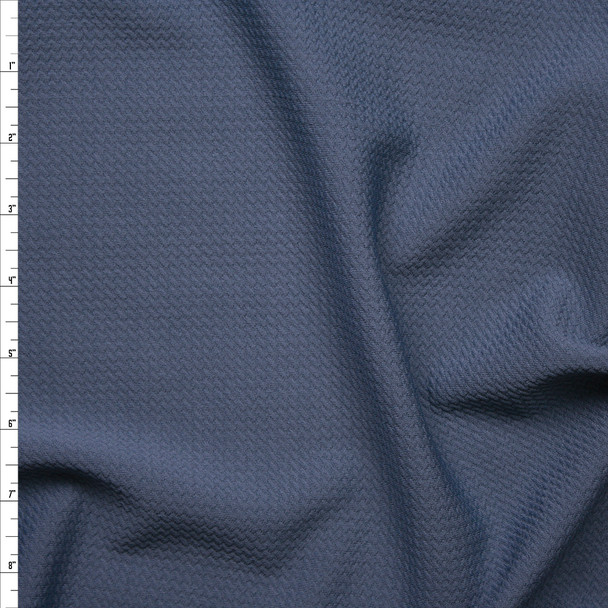 Slate Blue Solid Braided Look Liverpool Knit Fabric By The Yard