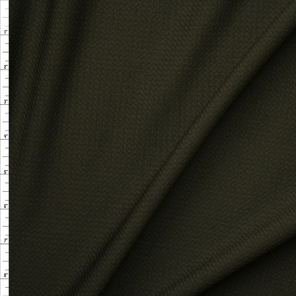 Dark Olive Green Solid Braided Look Liverpool Knit Fabric By The Yard