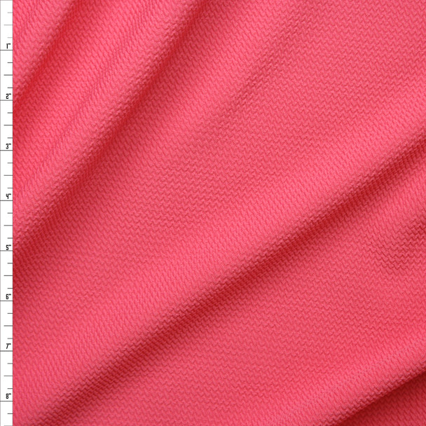 Guava Pink Solid Braided Look Liverpool Knit Fabric By The Yard