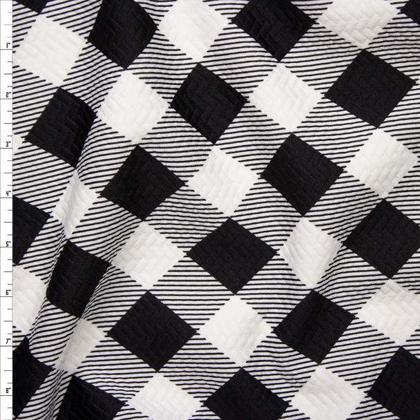 Black and White Diagonal Plaid Brick Textured Double Knit Fabric By The Yard