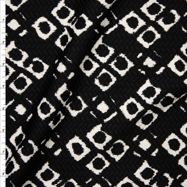 White Grunge Diamond Pattern on Black Brick Textured Double Knit Fabric By The Yard