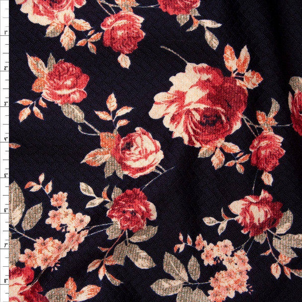 Burgundy, Pink, and Taupe Rose Floral on Black Brick Textured Double Knit Fabric By The Yard
