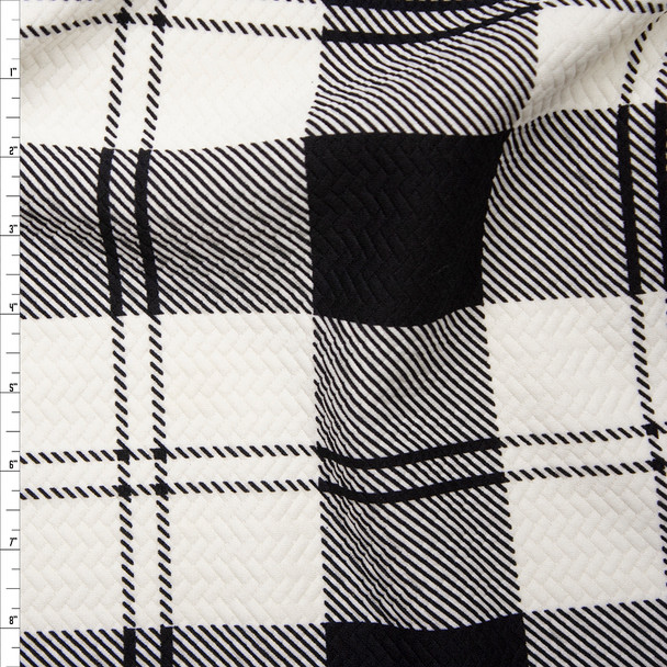 Large Black and White Plaid Brick Textured Double Knit Fabric By The Yard