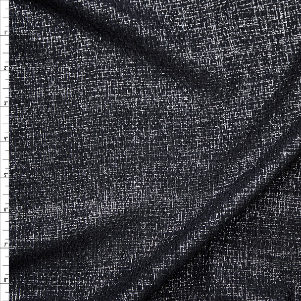 Silver Linen-Like Metallic on Black Liverpool Knit Fabric By The Yard