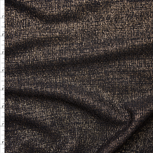 Gold Linen-Like Metallic on Black Liverpool Knit Fabric By The Yard