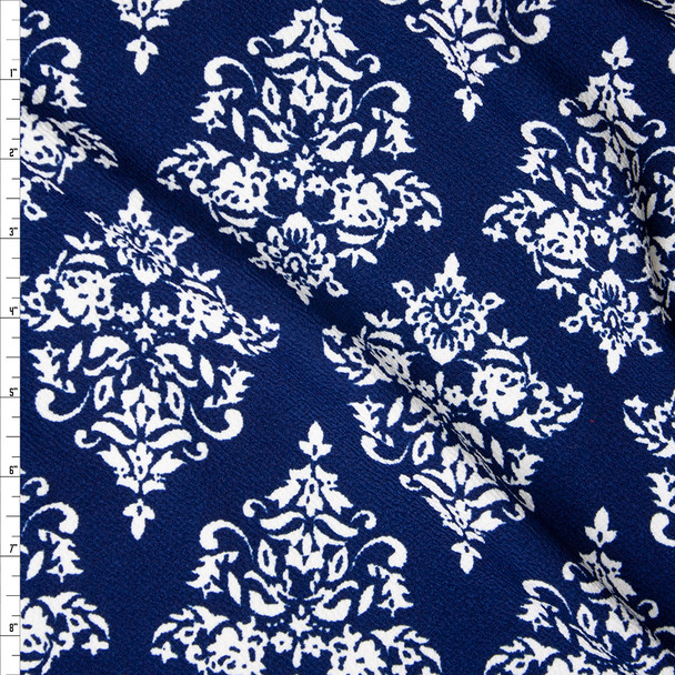 Offwhite on Navy Diamond Damask Liverpool Knit Fabric By The Yard