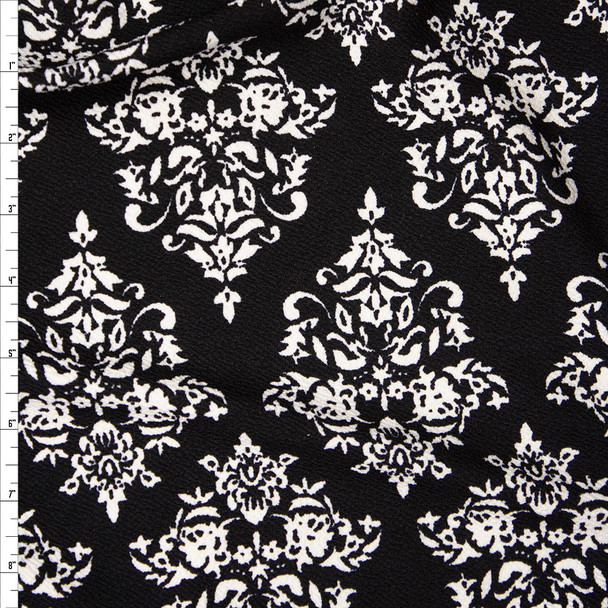 Offwhite on Black Diamond Damask Liverpool Knit Fabric By The Yard