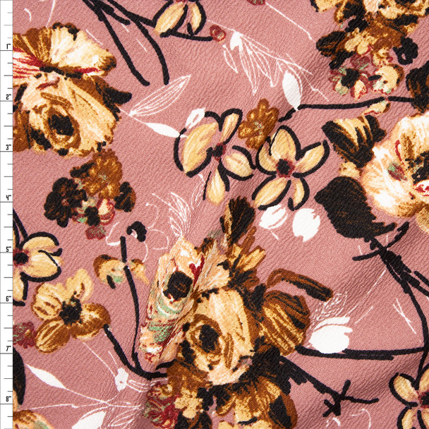 Tan, Black, and White Mixed Floral on Dusty Mauve Liverpool Knit Fabric By The Yard