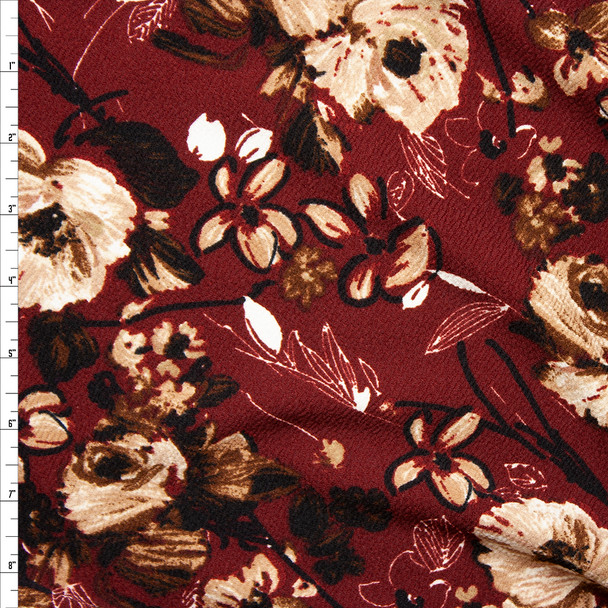 Tan, Black, and White Mixed Floral on Burgundy Liverpool Knit Fabric By The Yard