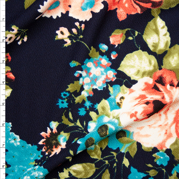 Red Orange, Turquoise, and Bright Olive Floral on Navy Liverpool Knit Fabric By The Yard