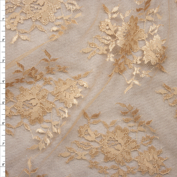 Tan Chantilly Lace Fabric By The Yard