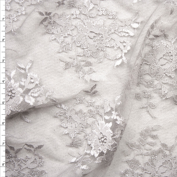 Light Grey Chantilly Lace Fabric By The Yard