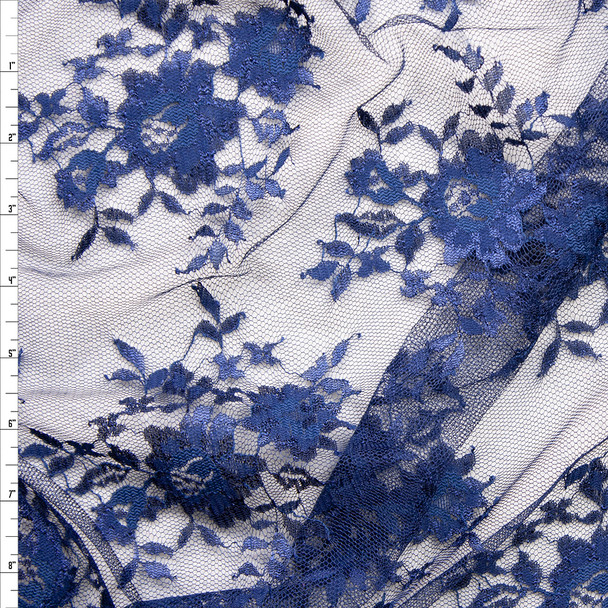 Navy Chantilly Lace Fabric By The Yard