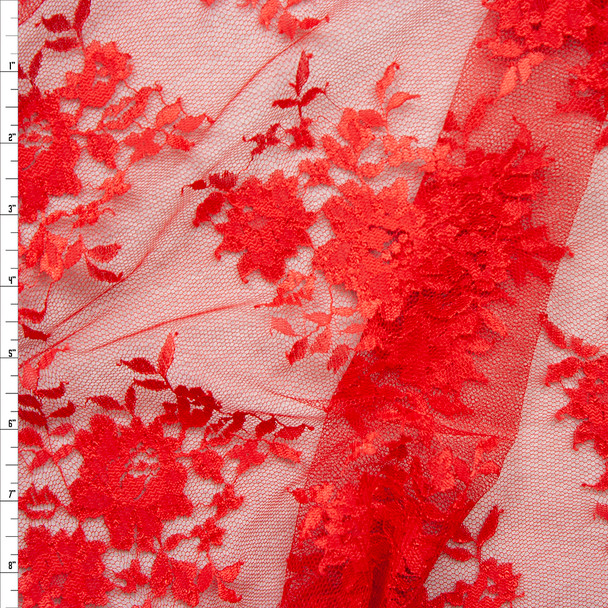 Red Chantilly Lace Fabric By The Yard