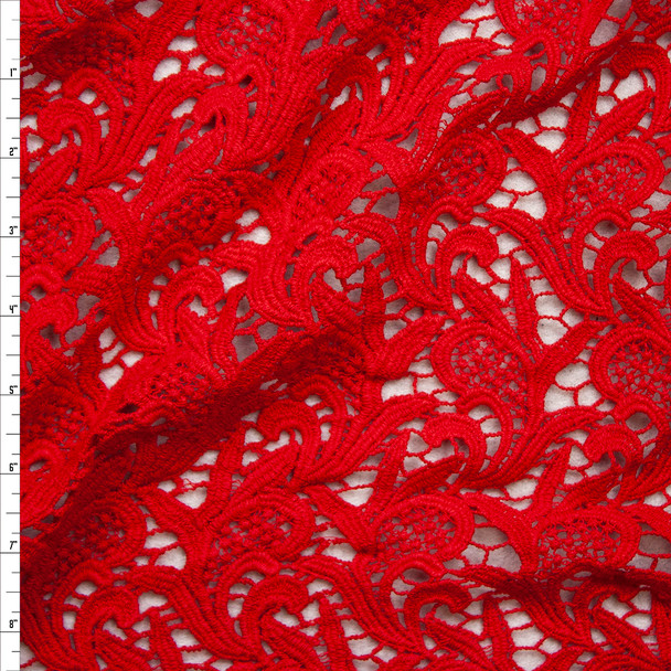 Red Scrollwork Cotton Lace Fabric By The Yard