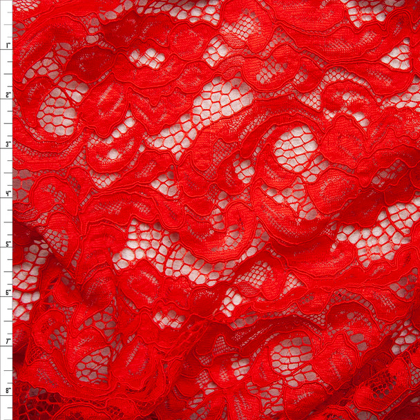 Red Floral Corded Lace Fabric By The Yard