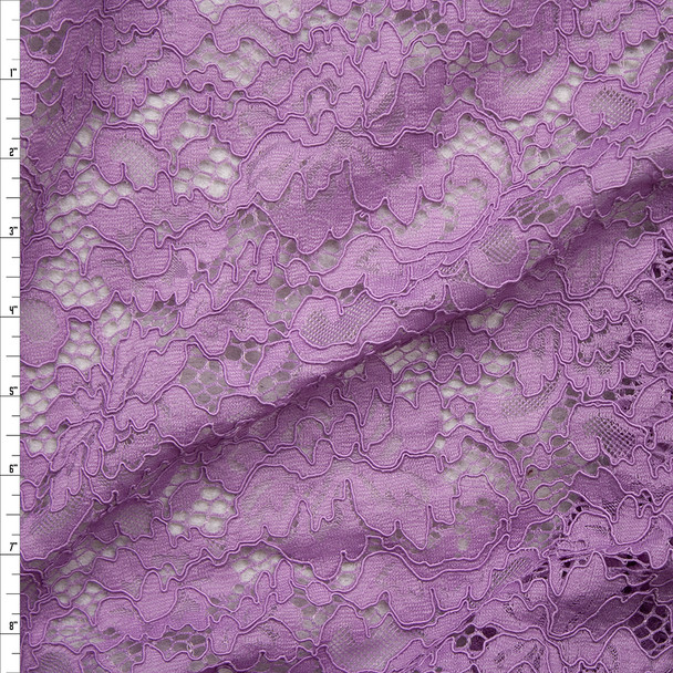 Lavender Floral Corded Lace Fabric By The Yard