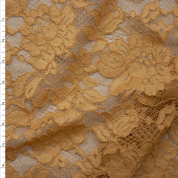Gold Floral Corded Lace Fabric By The Yard