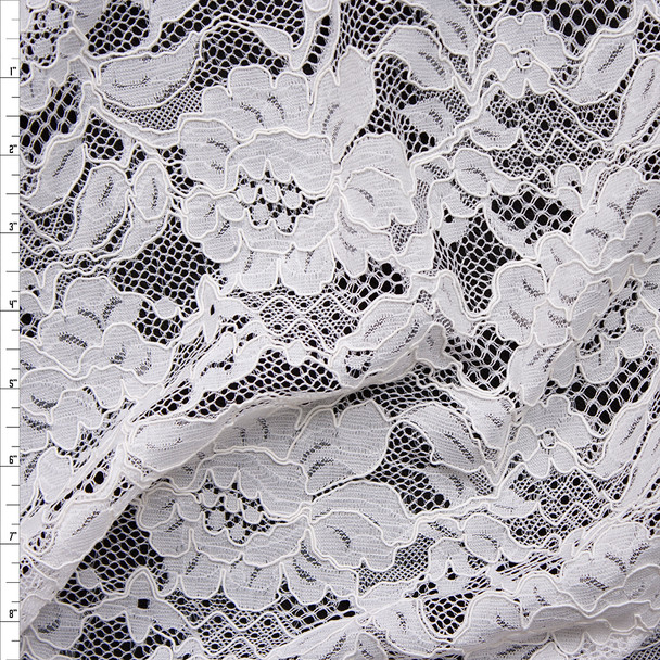 White Floral Corded Lace Fabric By The Yard