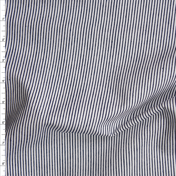 Midnight Blue and White Vertical Stripe Bull Denim Fabric By The Yard