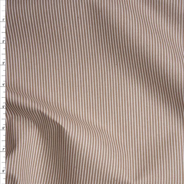 White on Tan Vertical Stripe Bull Denim Fabric By The Yard
