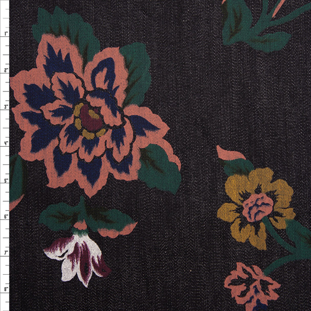 Terracotta, White, Wine, Gold, and Emerald Floral on Black Denim Fabric By The Yard