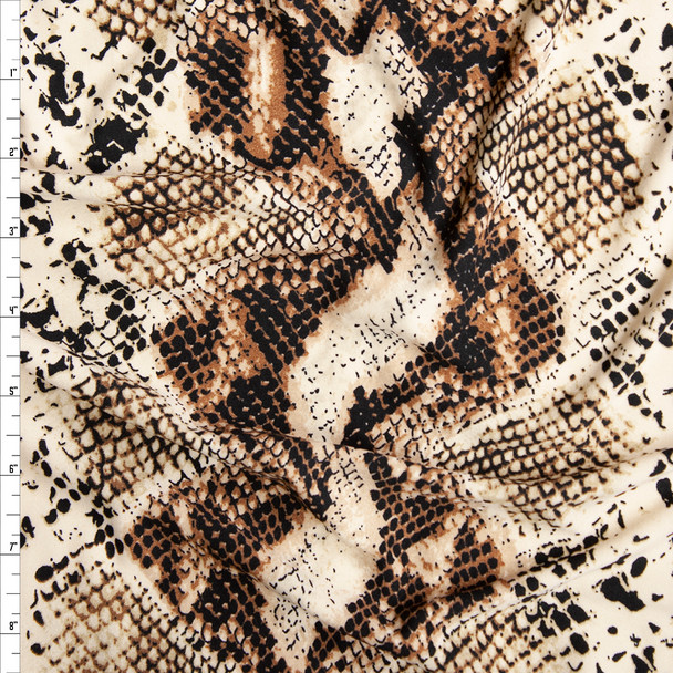 Tan and Brown Snakeskin Brushed Poly/Spandex Knit Fabric By The Yard