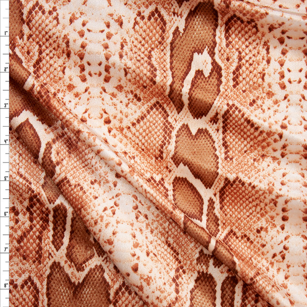 Brown and Tan Snakeskin 4-way Stretch Velvet Fabric By The Yard