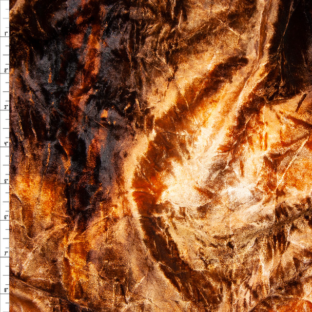 Burnt Orange, Tan, and Brown Tie Dye 4-way Stretch Velvet Fabric By The Yard