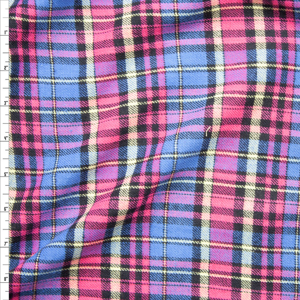 Sky Blue, Pink, Yellow, and Black Plaid Cotton Flannel Fabric By The Yard