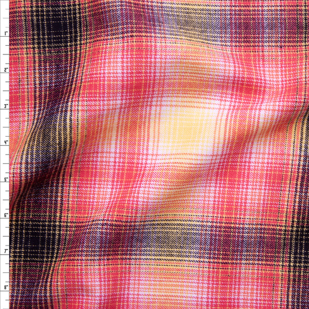 Yellow, Pink, and Black Plaid Cotton Flannel Fabric By The Yard