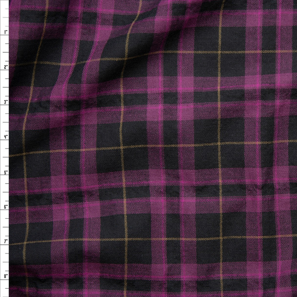 Pink, Tan, and Black Plaid Herringbone Cotton Lawn Fabric By The Yard