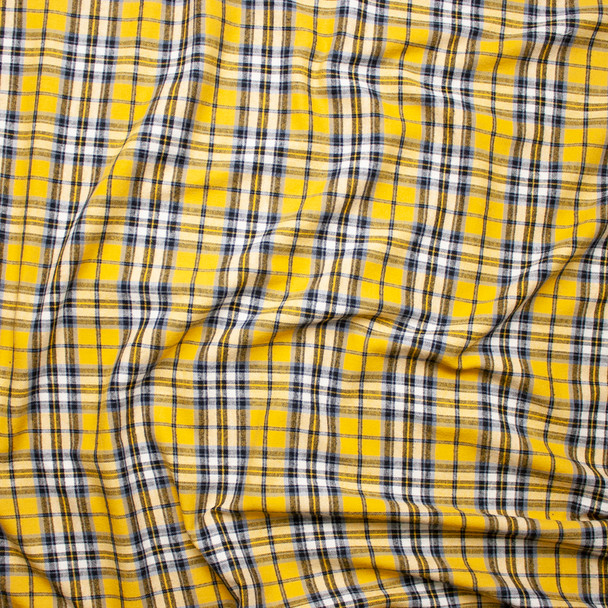 Yellow, Grey, Black, and White Plaid Cotton Flannel Fabric By The Yard - Wide shot