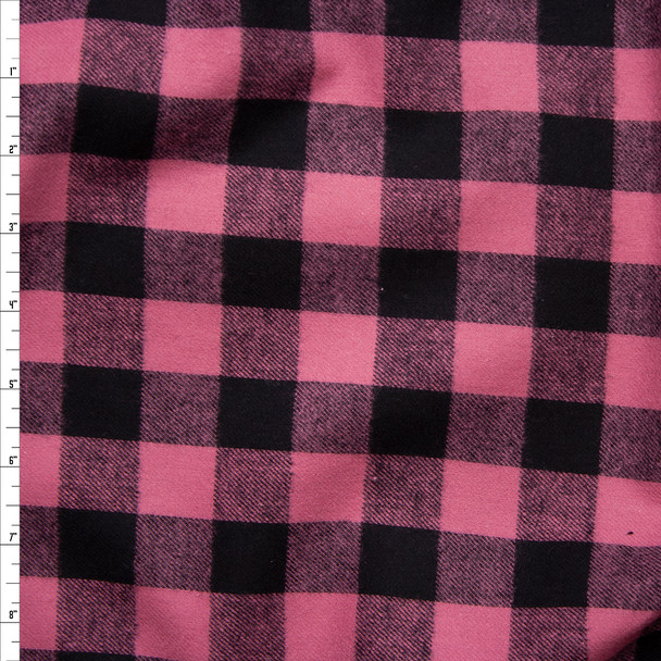 Pink and Black Buffalo Plaid Cotton Flannel Fabric By The Yard