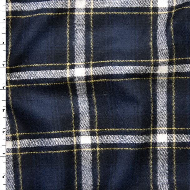 Navy, White, and Yellow Plaid Cotton Flannel Fabric By The Yard