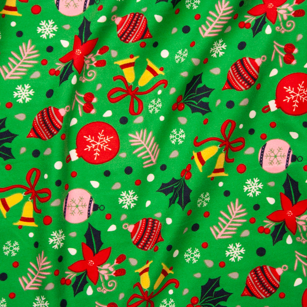 Tossed Christmas Baubles on Bright Green Double Brushed Poly Spandex Knit