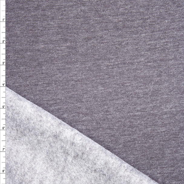Charcoal Grey Heather Midweight Sweatshirt Fleece Fabric By The Yard