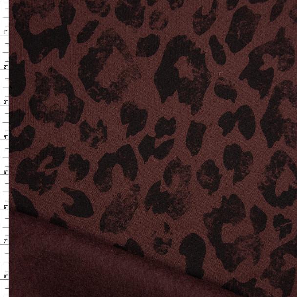 Black on Brown Grunge Leopard Print Sweatshirt Fleece Fabric By The Yard