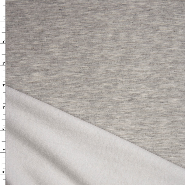Light Grey Heather Light Midweight Stretch Sweatshirt Fleece Fabric By The Yard