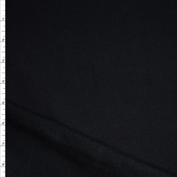 Black Midweight Sweatshirt Fleece Fabric By The Yard