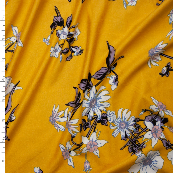 Blush, Lilac, and White Lilies on Mustard Yellow Double Brushed Poly Spandex Fabric By The Yard