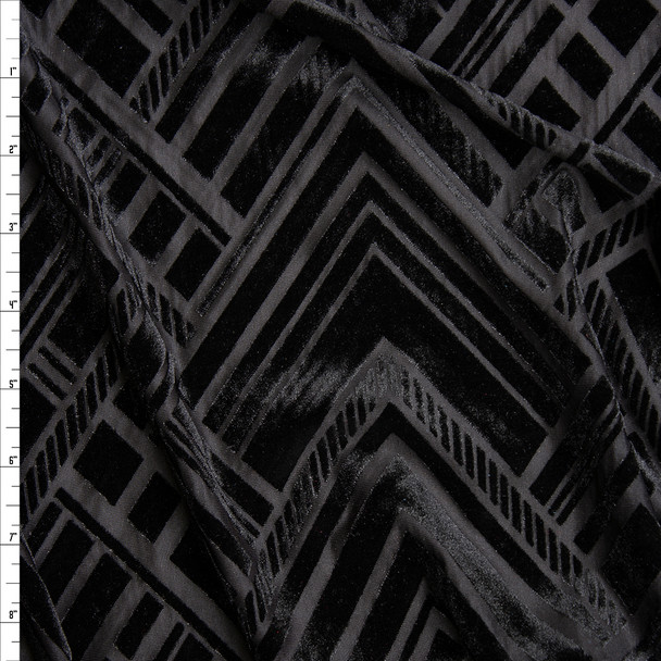 Black Geometric Art Deco on Black Burnout Stretch Velvet Fabric By The Yard