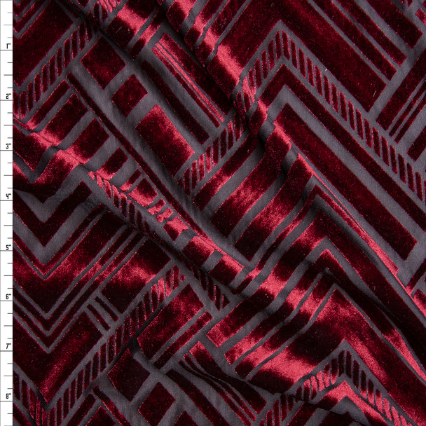 Wine Geometric Art Deco on Black Burnout Stretch Velvet Fabric By The Yard
