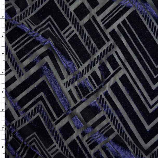 Navy Geometric Art Deco on Black Burnout Stretch Velvet Fabric By The Yard