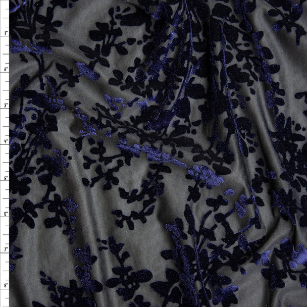 Navy Floral on Black Burnout Stretch Velvet Fabric By The Yard