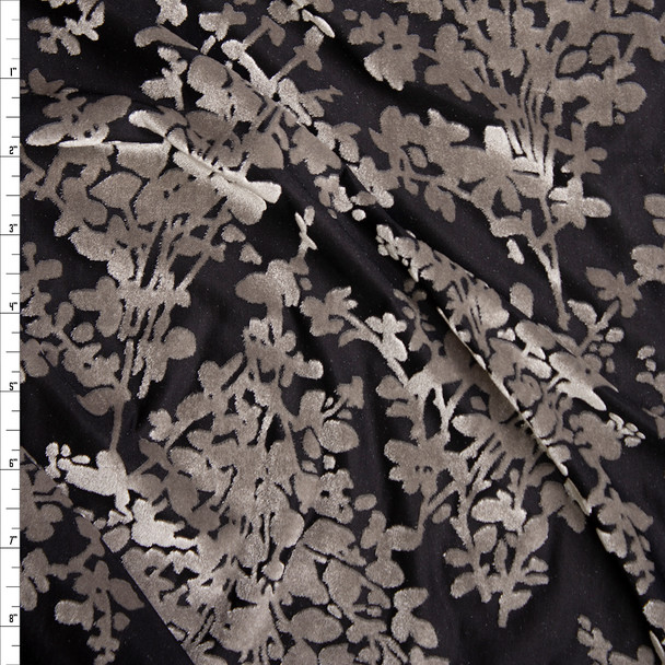 Grey Floral on Black Burnout Stretch Velvet Fabric By The Yard