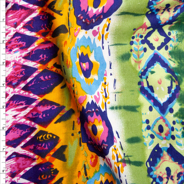Blue, Olive, Hot Pink, and Orange Bohemian Border Print Rayon Challis Fabric By The Yard