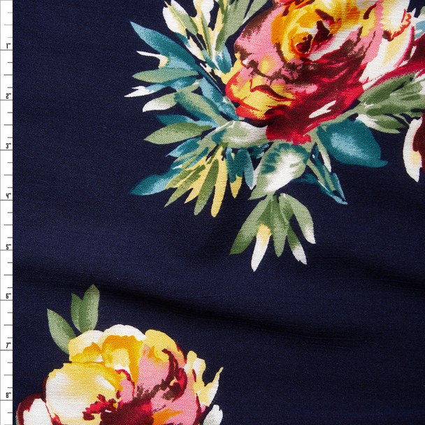 Pink, Yellow, Olive, and Teal Floral on Navy Rayon Gauze Fabric By The Yard