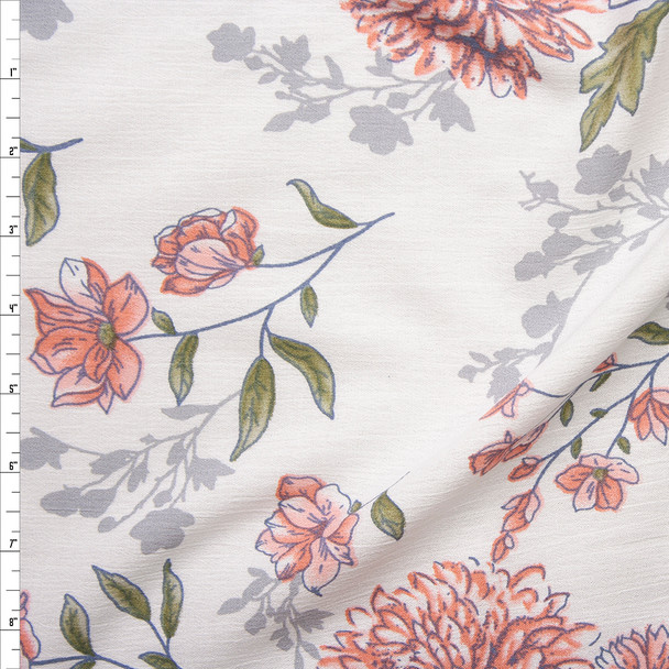 Pink, Grey, and Green Watercolor Floral on White Rayon Gauze